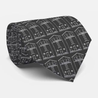 Tiny House Black and White Chalkboard Drawing Tie