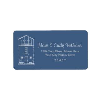 Tiny House Blue & White Blueprint Style Drawing Label