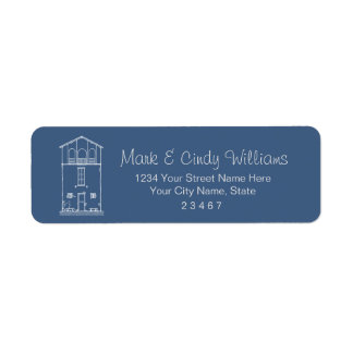 Tiny House Blueprint Drawing Blue and White Return Address Label
