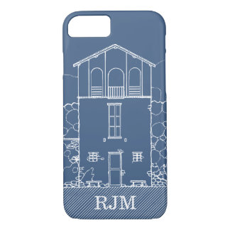 Tiny House Blueprint Drawing Blue Personalized iPhone 8/7 Case