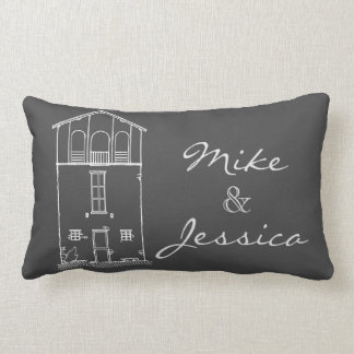 Tiny House Chalkboard Drawing Personalized Grey Lumbar Pillow