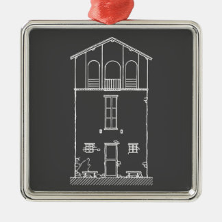 Tiny House Grey and White Chalkboard Drawing Silver-Colored Square Ornament
