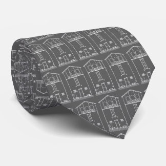 Tiny House Grey and White Chalkboard Drawing Tie