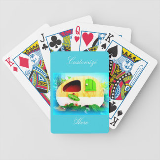Tiny house gypsy caravan bicycle playing cards
