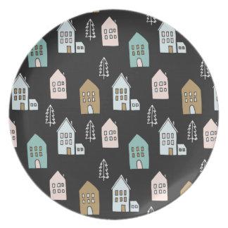Tiny Houses Print Dinner Plate