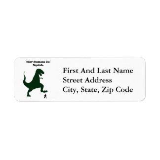 Tiny Humans Go Squish Funny Dinosaur Cartoon Return Address Label