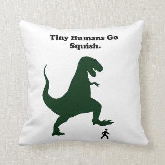 Tiny Humans Go Squish Funny Dinosaur Cartoon Throw Pillows