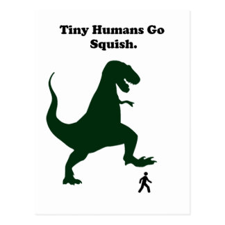 Tiny Humans Go Squish Funny Dinosaur Cartoon Postcard