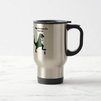 Tiny Humans Go Squish Funny Dinosaur Cartoon Travel Mug