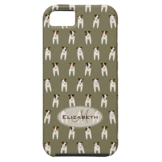 tiny jack russell terriers pattern monogram olive case for the iPhone 5