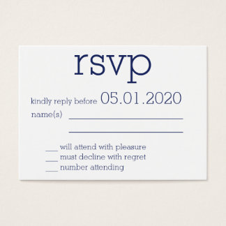 Tiny Monogrammed Navy Blue Modern Wedding RSVP Business Card