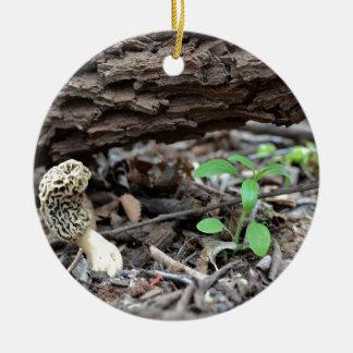Tiny Morel Mushroom in the Woods Ceramic Ornament