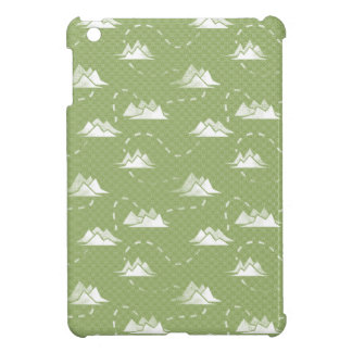 Tiny Mountains Trail GREEN-WHITE Pattern iPad Mini Case