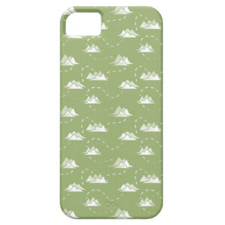 Tiny Mountains Trail GREEN-WHITE Pattern iPhone 5 Covers