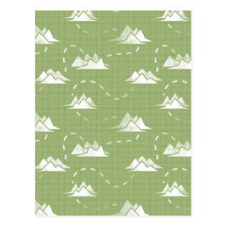 Tiny Mountains Trail GREEN-WHITE Pattern Postcard