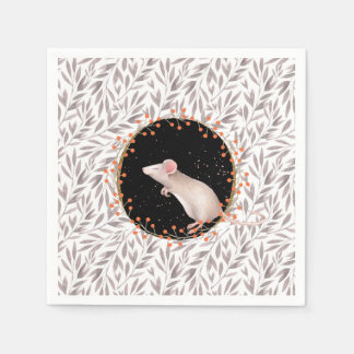 Tiny mouse in autumn harvest field disposable napkin
