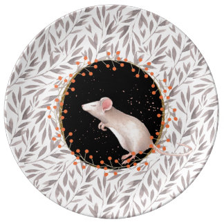 Tiny mouse in autumn harvest field porcelain plates