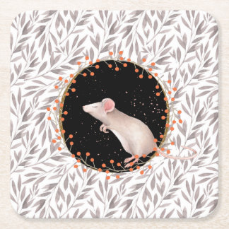 Tiny mouse in autumn harvest field square paper coaster