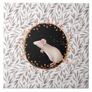 Tiny mouse in autumn harvest field tile