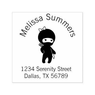 Tiny Ninja Girl Address Self-inking Stamp