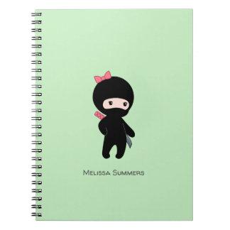 Tiny Ninja Girl Custom Name on Green Notebook