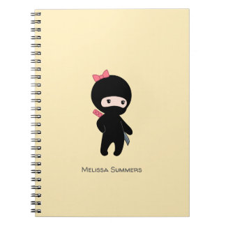 Tiny Ninja Girl Custom Name on Yellow Spiral Notebook