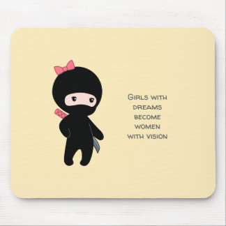 Tiny Ninja Girl Inspirational Quote on Yellow Mouse Pad