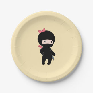 Tiny Ninja Girl on Yellow Paper Plate
