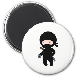 Tiny Ninja Holding Throwing Star Magnet
