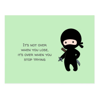 Tiny Ninja Holding Throwing Star on Green Quote Postcard