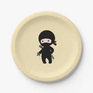 Tiny Ninja Holding Throwing Star on Yellow Paper Plate