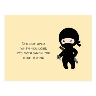 Tiny Ninja Holding Throwing Star on Yellow Quote Postcard