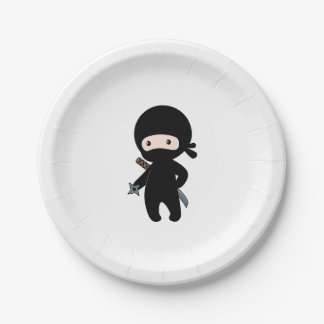 Tiny Ninja Holding Throwing Star Paper Plate