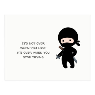 Tiny Ninja Holding Throwing Star Quote Postcard