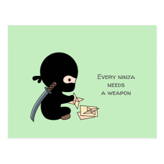 Tiny Ninja Making Origami Paper Throwing Star Postcard