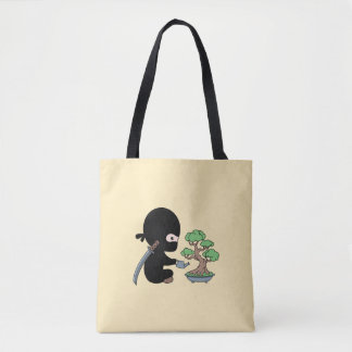 Tiny Ninja Watering Bonsai Tree on Yellow Tote Bag