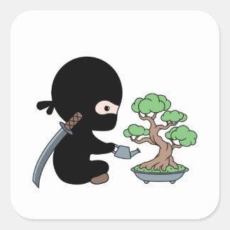 Tiny Ninja Watering Bonsai Tree Square Sticker