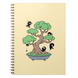 Tiny Ninjas in Bonsai Tree Custom Name Notebook
