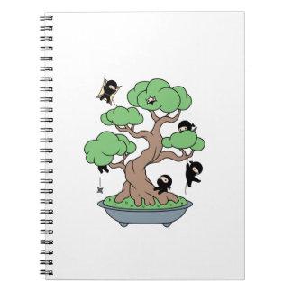 Tiny Ninjas in Bonsai Tree Custom Name Notebooks