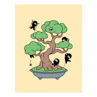 Tiny Ninjas in Bonsai Tree on Yellow Postcard