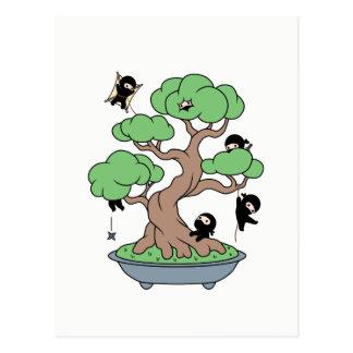 Tiny Ninjas in Bonsai Tree Postcard