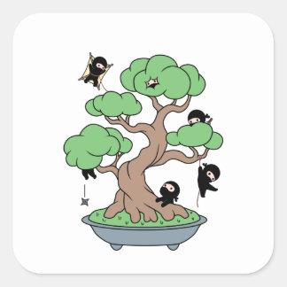 Tiny Ninjas in Bonsai Tree Square Sticker