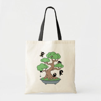 Tiny Ninjas in Bonsai Tree Tote Bag