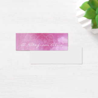 Tiny Notes with Pink Watercolor & White Mandala Mini Business Card