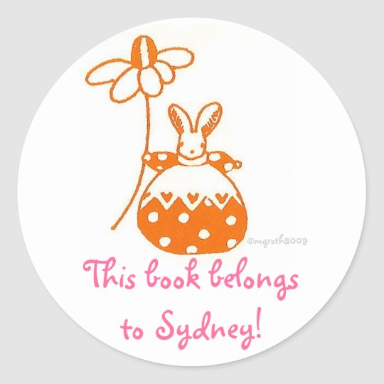 tiny orange bunny bookplate classic round sticker