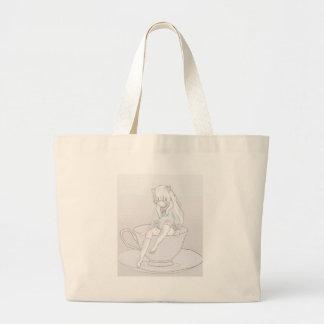 tiny pastel tea party large tote bag