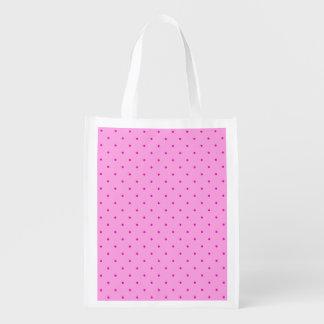 Tiny Pink Polka Dots on Lighter Pink Reusable Grocery Bag