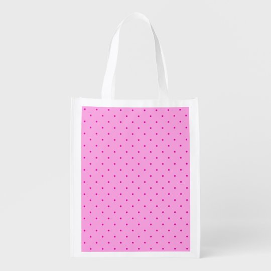 Tiny Pink Polka Dots on Lighter Pink Reusable Grocery Bag