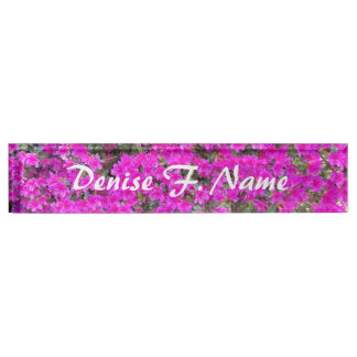 Tiny Pink Rhododendrons Floral Nameplate