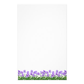 Tiny Purple Iris Flowers Stationery